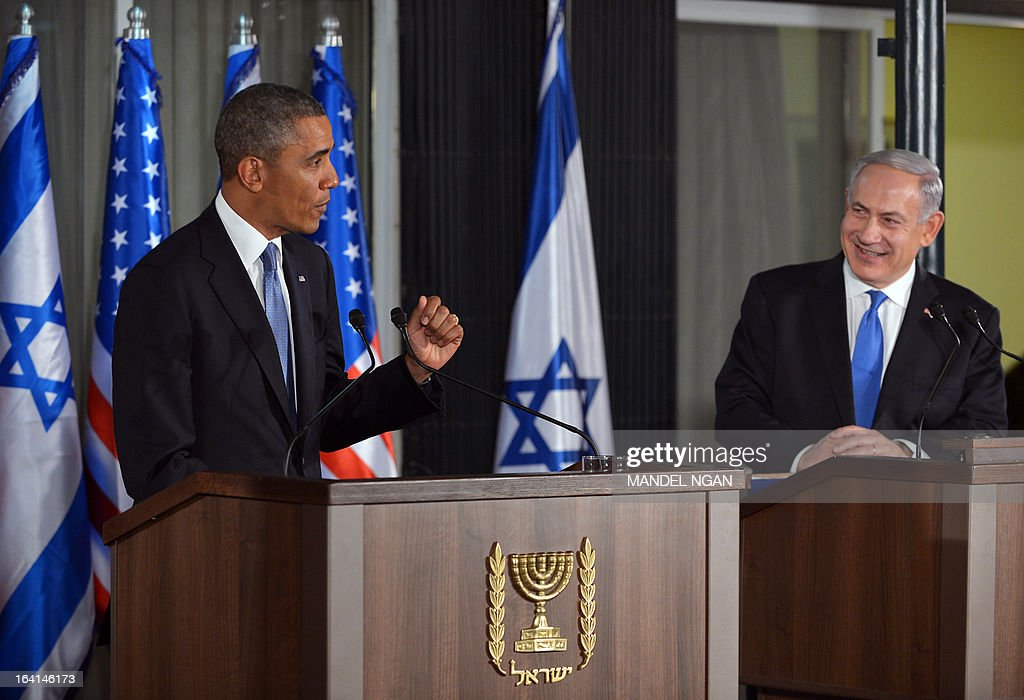 US President Barack Obama (L) speaks during a joint press conference with Israel's Prime Minister Benjamin Netanyahu following a bilateral meeting at the Prime Minister's residence in Jerusalem on March 20, 2013. Obama landed in Israel for the first time as US president, on a mission to ease past tensions with his hosts and hoping to paper over differences on handling Iran's nuclear threat.