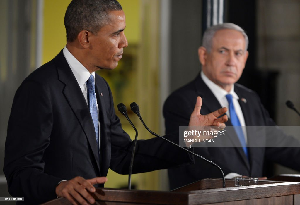 US President Barack Obama (L) speaks during a joint press conference with Israel's Prime Minister Benjamin Netanyahu following a bilateral meeting at the Prime Minister's residence in Jerusalem on March 20, 2013. Obama landed in Israel for the first time as US president, on a mission to ease past tensions with his hosts and hoping to paper over differences on handling Iran's nuclear threat. AFP PHOTO/MANDEL NGAN