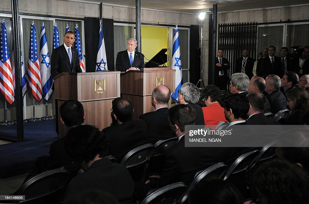 US President Barack Obama (L) speaks during a joint press conference with Israel's Prime Minister Benjamin Netanyahu following a bilateral meeting at the Prime Minister's residence in Jerusalem on March 20, 2013. Obama said Israel and the United States are to 'begin discussions' on extending US military aid to Israel beyond 2017 on his first visit to the Jewish state since taking over the White House.