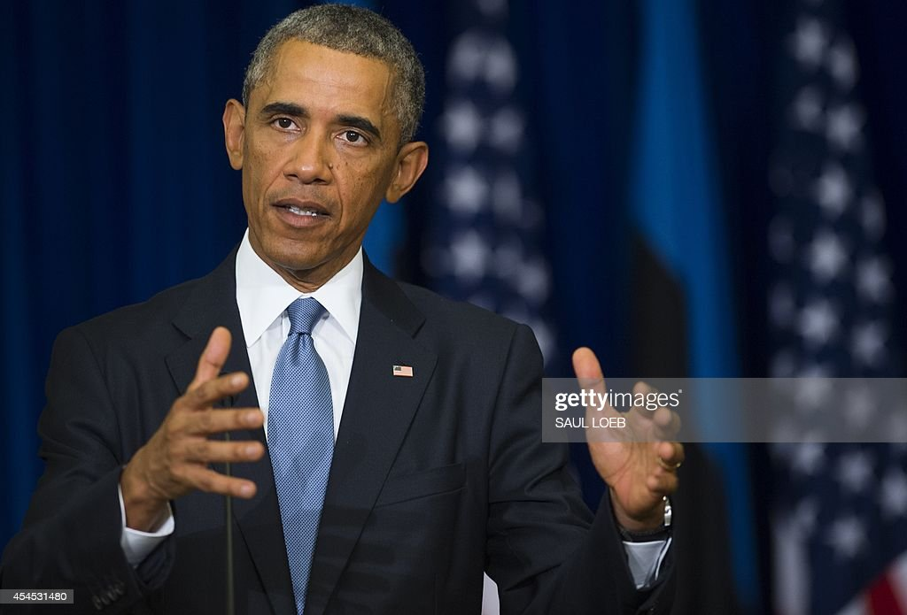 US President Barack Obama speaks during a joint press conference with his Estonian counterpart at the Bank of Estonia in Tallinn, Estonia, on September 3, 2014. US President Barack Obama arrived in Estonia to meet Baltic leaders and reaffirm Washington's commitment to the security of ex-Soviet NATO members.