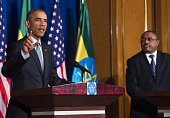 US President Barack Obama speaks during a joint press conference with Ethiopian Prime Minister Hailemariam Desalegn at the National Palace in Addis...