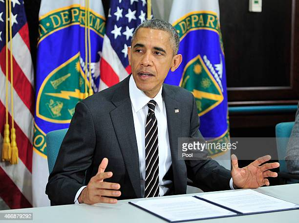 President Barack Obama speaks during a meeting on energy and climate change at the US Department of Energy on March 19 2015 in Washington DC
