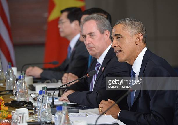 US President Barack Obama speaks during a meeting with leaders from the TransPacific Partnership at the US Embassy in Beijing on November 10 2014 in...