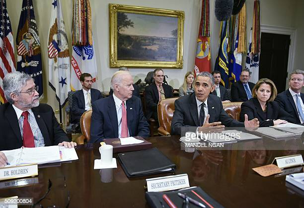 US President Barack Obama speaks during a meeting with members of his national security team on cybersecurity on February 9 2016 in the Roosevelt...