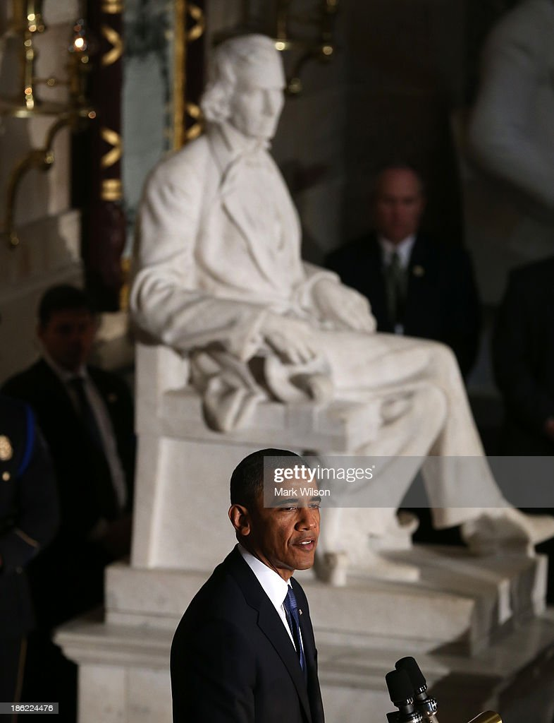 U.S. President <a gi-track='captionPersonalityLinkClicked' href=/galleries/search?phrase=Barack+Obama&family=editorial&specificpeople=203260 ng-click='$event.stopPropagation()'>Barack Obama</a> speaks during a memorial service for former House Speaker Tom Foley (D-WA), at the U.S. Capitol, October 29, 2013 in Washington, DC President Obama and members of Congress gathered for a Congressional Memorial Service celebrating the life of former House Speaker Tom Foley (D-WA) who died on October 18.