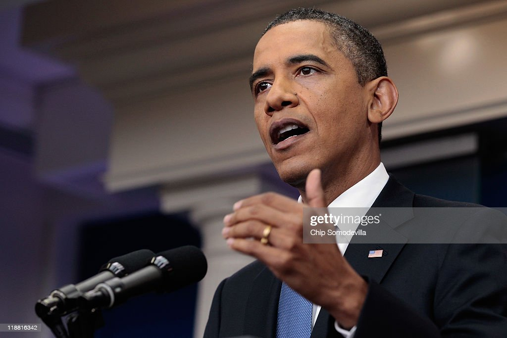 U.S .President <a gi-track='captionPersonalityLinkClicked' href=/galleries/search?phrase=Barack+Obama&family=editorial&specificpeople=203260 ng-click='$event.stopPropagation()'>Barack Obama</a> speaks during a news conference in the Brady Press Briefing Room at the White House July 11, 2011 in Washington, DC. Obama discussed the ongoing budget and debit limit negotiations with congressional Republicans and Democrats.