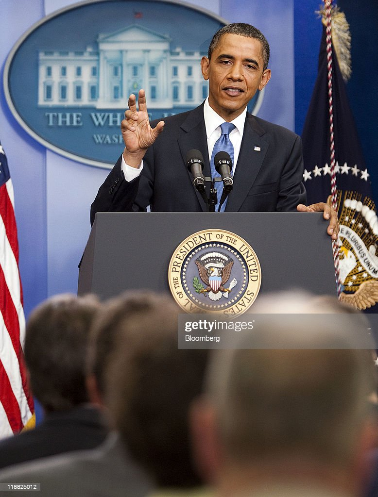 U.S. President <a gi-track='captionPersonalityLinkClicked' href=/galleries/search?phrase=Barack+Obama&family=editorial&specificpeople=203260 ng-click='$event.stopPropagation()'>Barack Obama</a> speaks during a news conference in the Brady Press Briefing Room at the White House in Washington, D.C., U.S., on Monday, July 11, 2011. Obama said he will continue to press congressional leaders for 'the largest possible deal' on a package of significant deficit cuts. Photographer: Joshua Roberts/Bloomberg via Getty Images