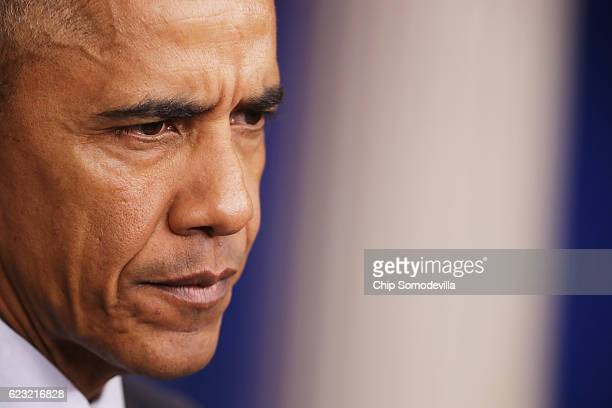 S President Barack Obama speaks during a news conference in the Brady Press Briefing Room at the White House on November 14 2016 in Washington DC...