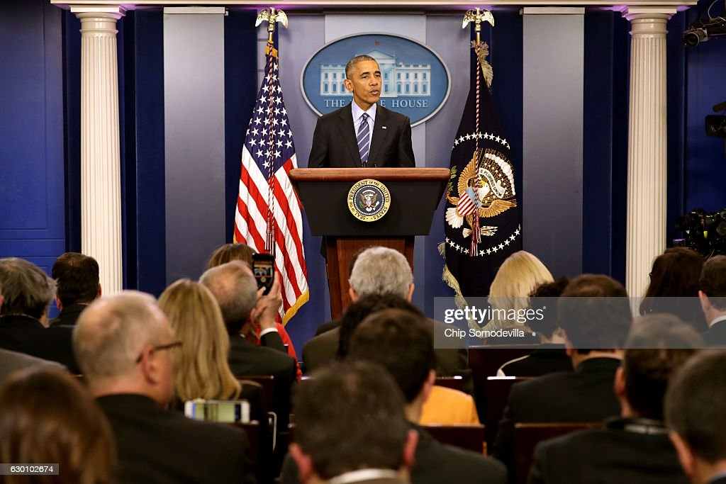 U.S. President Barack Obama speaks during a news conference in the Brady Press Breifing Room at the White House December 16, 2016 in Washington, DC. In what could be the last press conference of his presidency, afterwards Obama will be leaving for his annual family vacation in Hawaii.
