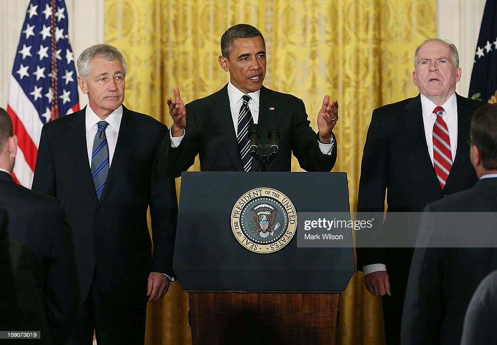 U.S. President Barack Obama (C) speaks during a news conference with chief counterterrorism adviser John Brennan (R), and former U.S. Sen. Chuck Hagel (R-NE) in the East Room at the White House on January 7, 2013 in Washington, DC. Pending approval by the Senate, the nomination of former U.S. Sen. Chuck Hagel (R-NE) as Secretary of Defense will replace Leon Panetta and chief counterterrorism adviser John Brennan will be the next director of the Central Intelligence Agency following the resignation of Army Gen. David Petraeus.