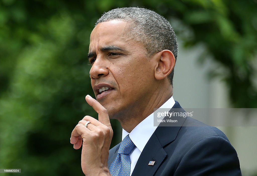 U.S. President <a gi-track='captionPersonalityLinkClicked' href=/galleries/search?phrase=Barack+Obama&family=editorial&specificpeople=203260 ng-click='$event.stopPropagation()'>Barack Obama</a> speaks during a news conference with Prime Minister Recep Tayyip Erdogan of Turkey (not shown), in the Rose Garden at the White House, May 16, 2013 in Washington, DC. President Obama answered questions on the IRS Justice Department invesigation.