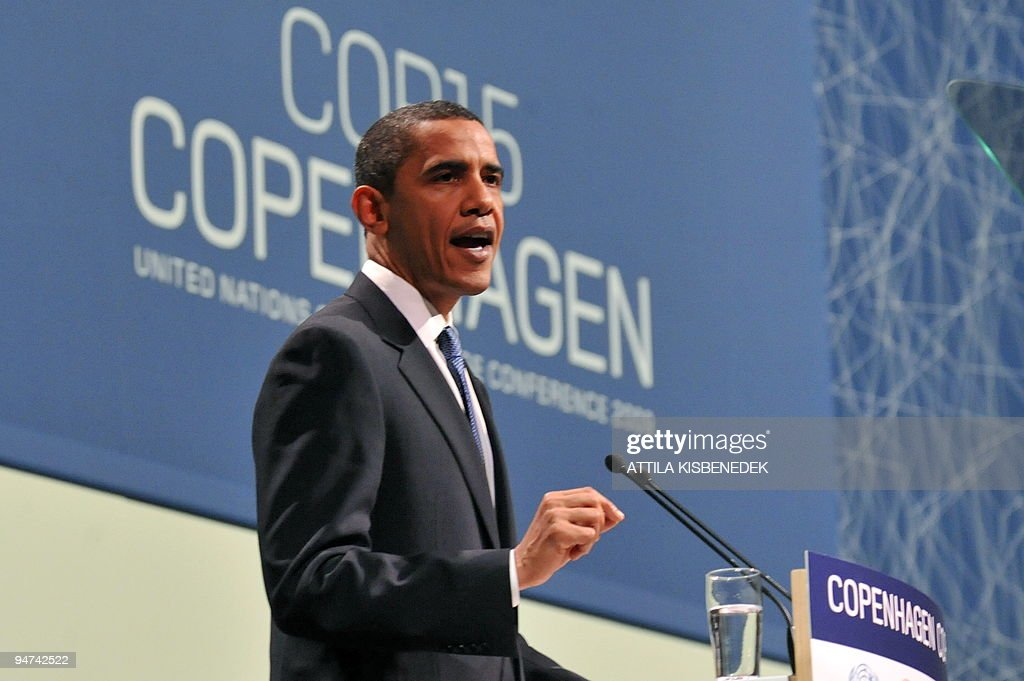 US President <a gi-track='captionPersonalityLinkClicked' href=/galleries/search?phrase=Barack+Obama&family=editorial&specificpeople=203260 ng-click='$event.stopPropagation()'>Barack Obama</a> speaks during a plenary session at the Bella Center in Copenhagen on December 18, 2009 on the 12th day of the COP15 UN Climate Change Conference. AFP PHOTO / ATTILA KISBENEDEK