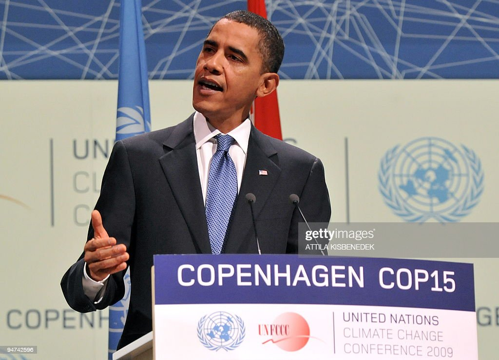 US President <a gi-track='captionPersonalityLinkClicked' href=/galleries/search?phrase=Barack+Obama&family=editorial&specificpeople=203260 ng-click='$event.stopPropagation()'>Barack Obama</a> speaks during a plenary session at the Bella Center in Copenhagen on December 18, 2009 on the 12th day of the COP15 UN Climate Change Conference.
