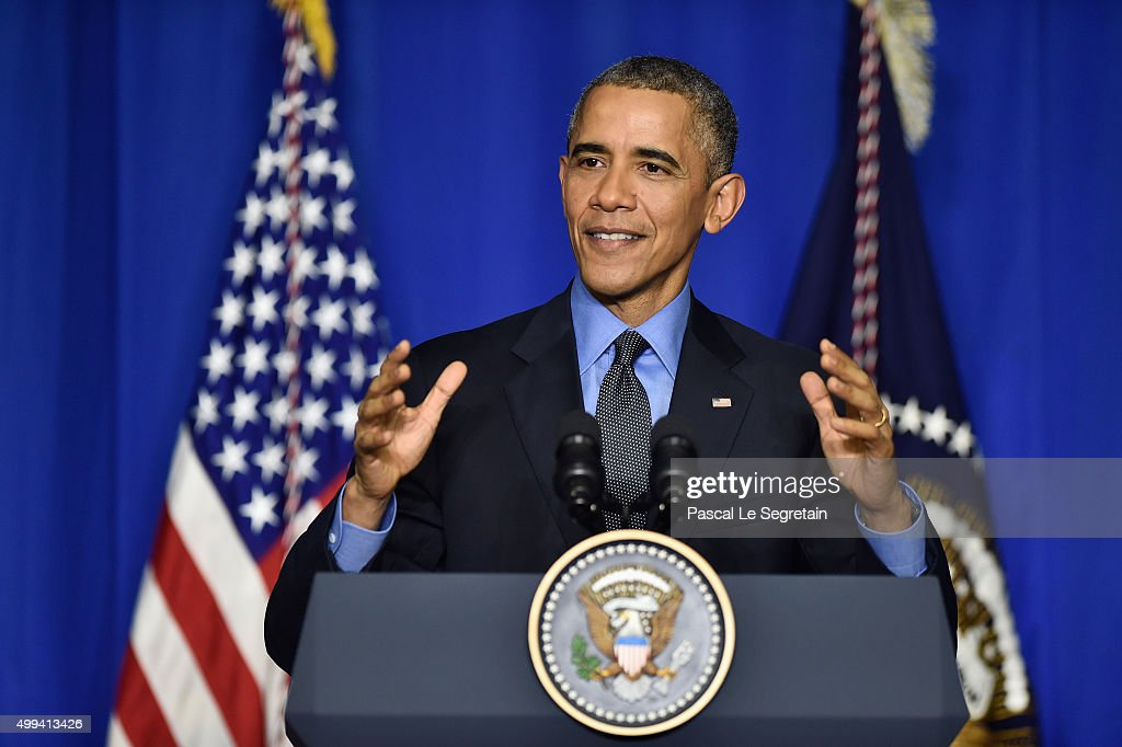U.S. President <a gi-track='captionPersonalityLinkClicked' href=/galleries/search?phrase=Barack+Obama&family=editorial&specificpeople=203260 ng-click='$event.stopPropagation()'>Barack Obama</a> speaks during a press conference at the OECD Conference Centre before leaving the Conference On Climate Change COP21 on December 1, 2015 in Paris, France. Obama spoke about the economic impact of global warming and security risks before flying back to Washington.