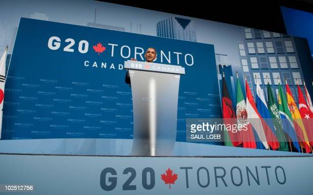 US President Barack Obama speaks during a press conference at the conclusion of the G20 Summit in Toronto Ontario Canada June 27 2010 AFP PHOTO /...