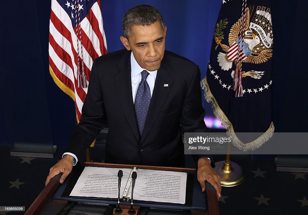 U.S. President <a gi-track='captionPersonalityLinkClicked' href=/galleries/search?phrase=Barack+Obama&family=editorial&specificpeople=203260 ng-click='$event.stopPropagation()'>Barack Obama</a> speaks during a press conference in the Brady Press Briefing Room of the White House on October 8, 2013 in Washington, DC. Now in the eighth day of a government shutdown, Obama and his Democratic allies have reiterated to House Speaker John Boehner (R-OH) that they will negotiate but only after Republicans vote to approve a clean extension of government spending and authorize an increase in the debt limit.