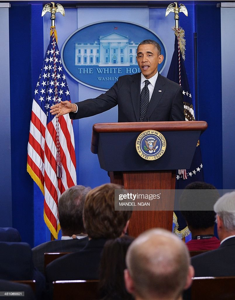 US President Barack Obama speaks during a press conference in the Brady Briefing Room of the White House on November 21, 2013 in Washington, DC. Obama spoke on the move by the Democratic-controlled Senate to invoke the so-called 'nuclear option' on Capitol Hill earlier Thursday. The controversial move takes away the right for any party in the Senate minority to filibuster. Under the old rules it took 60 votes to break a filibuster. The change now allows most filibusters of Obama nominees to be stopped with 51 votesa simple Senate majority.