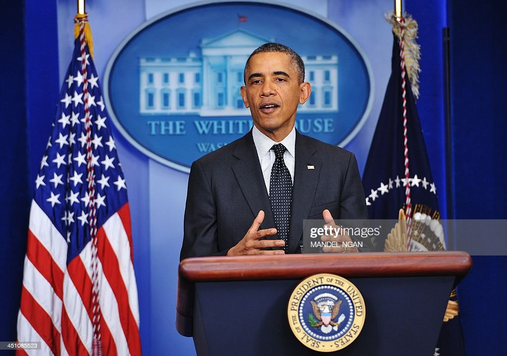 US President <a gi-track='captionPersonalityLinkClicked' href=/galleries/search?phrase=Barack+Obama&family=editorial&specificpeople=203260 ng-click='$event.stopPropagation()'>Barack Obama</a> speaks during a press conference in the Brady Briefing Room of the White House on November 21, 2013 in Washington, DC. Obama spoke on the move by the Democratic-controlled Senate to invoke the so-called 'nuclear option' on Capitol Hill earlier Thursday. The controversial move takes away the right for any party in the Senate minority to filibuster. Under the old rules it took 60 votes to break a filibuster. The change now allows most filibusters of Obama nominees to be stopped with 51 votesa simple Senate majority.
