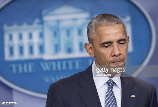 President Barack Obama speaks during a press conference in the Brady Press Briefing Room of the White House in Washington DC November 14 2016 US...
