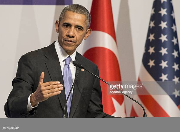 President Barack Obama speaks during a press conference on day two of the G20 Turkey Leaders Summit on November 16 2015 in Antalya Turkey