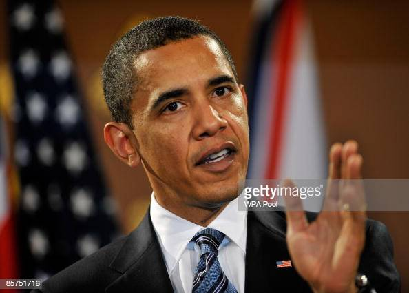 President Barack Obama speaks during a press conference with Britain's Prime Minister Gordon Brown and at the Foreign and Commonwealth Office on...