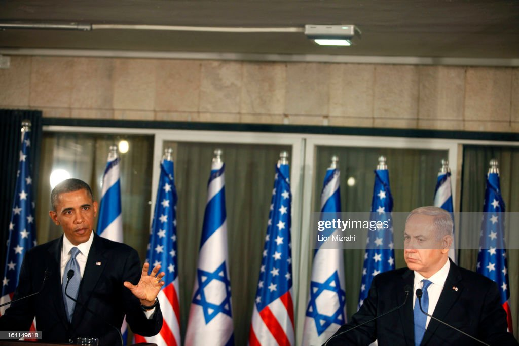 U.S. President Barack Obama (L) speaks during a press conference with Israeli Prime Minister Benjamin Netanyahu on March 20, 2013 in Jerusalem, Israel. This is Obama's first visit as President to the region, and his itinerary will include meetings with the Palestinian and Israeli leaders as well as a visit to the Church of the Nativity in Bethlehem.