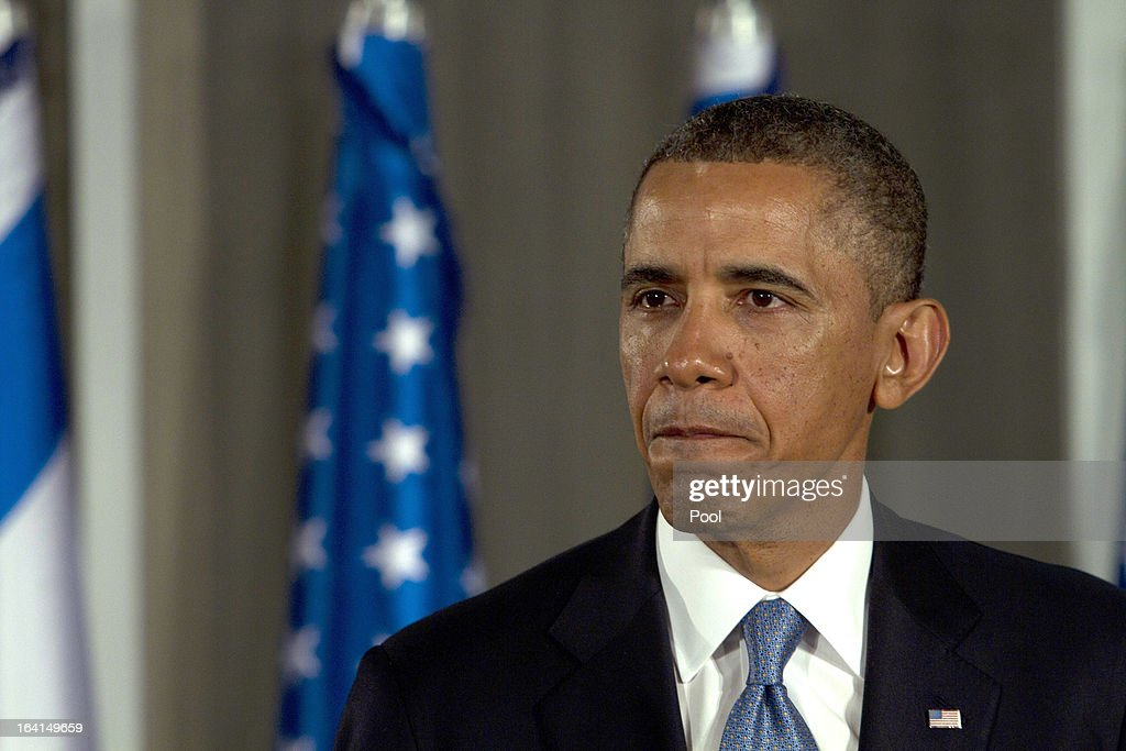 U.S. President Barack Obama speaks during a press conference with Israeli Prime Minister Benjamin Netanyahu on March 20, 2013 in Jerusalem, Israel. This is Obama's first visit as President to the region, and his itinerary will include meetings with the Palestinian and Israeli leaders as well as a visit to the Church of the Nativity in Bethlehem.
