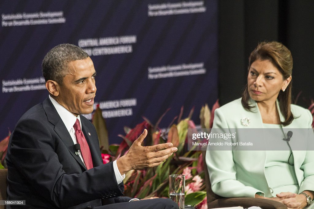U.S. President <a gi-track='captionPersonalityLinkClicked' href=/galleries/search?phrase=Barack+Obama&family=editorial&specificpeople=203260 ng-click='$event.stopPropagation()'>Barack Obama</a> speaks during a press conference with the President of Costa Rica, <a gi-track='captionPersonalityLinkClicked' href=/galleries/search?phrase=Laura+Chinchilla&family=editorial&specificpeople=646370 ng-click='$event.stopPropagation()'>Laura Chinchilla</a> on May 3, 2013 in San Jose, Costa Rica.