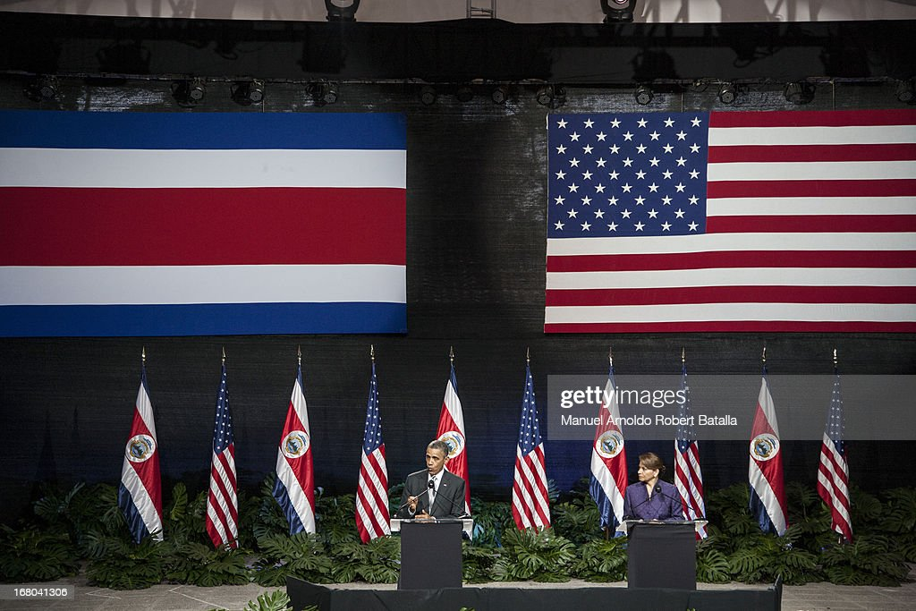 S President Barack Obama speaks during a press conference with the President of Costa Rica Laura Chinchilla on May 3 2013 in San Jose Costa Rica