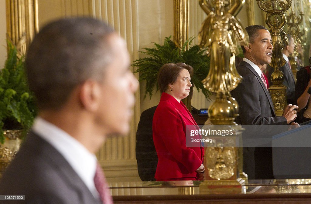 U.S. President <a gi-track='captionPersonalityLinkClicked' href=/galleries/search?phrase=Barack+Obama&family=editorial&specificpeople=203260 ng-click='$event.stopPropagation()'>Barack Obama</a> speaks during a reception for <a gi-track='captionPersonalityLinkClicked' href=/galleries/search?phrase=Elena+Kagan&family=editorial&specificpeople=5704239 ng-click='$event.stopPropagation()'>Elena Kagan</a>, confirmed associate justice of the U.S. Supreme Court, in the East Room of the White House in Washington, D.C., U.S., on Friday, Aug. 6, 2010. Kagan will become the nation's 112th justice tomorrow at a U.S. Supreme Court ceremony after the Senate gave President <a gi-track='captionPersonalityLinkClicked' href=/galleries/search?phrase=Barack+Obama&family=editorial&specificpeople=203260 ng-click='$event.stopPropagation()'>Barack Obama</a> his second appointment to the high court in two years. Photographer: Andrew Harrer/Bloomberg via Getty Images