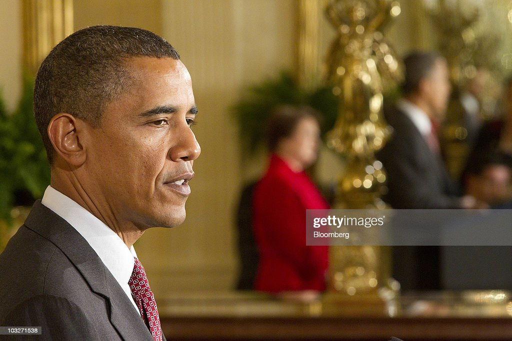 U.S. President <a gi-track='captionPersonalityLinkClicked' href=/galleries/search?phrase=Barack+Obama&family=editorial&specificpeople=203260 ng-click='$event.stopPropagation()'>Barack Obama</a> speaks during a reception for <a gi-track='captionPersonalityLinkClicked' href=/galleries/search?phrase=Elena+Kagan&family=editorial&specificpeople=5704239 ng-click='$event.stopPropagation()'>Elena Kagan</a>, confirmed associate justice of the U.S. Supreme Court, in the East Room of the White House in Washington, D.C., U.S., on Friday, Aug. 6, 2010. Kagan will become the nationÕs 112th justice tomorrow at a U.S. Supreme Court ceremony after the Senate gave President <a gi-track='captionPersonalityLinkClicked' href=/galleries/search?phrase=Barack+Obama&family=editorial&specificpeople=203260 ng-click='$event.stopPropagation()'>Barack Obama</a> his second appointment to the high court in two years. Photographer: Andrew Harrer/Bloomberg via Getty Images