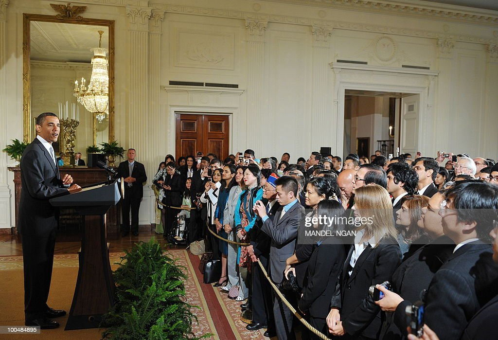 US President Barack Obama speaks during a reception to celebrate Asian American and Pacific Islander Heritage Month ON May 24, 2010 in the East Room of the White House in Washington. AFP PHOTO/Mandel NGAN