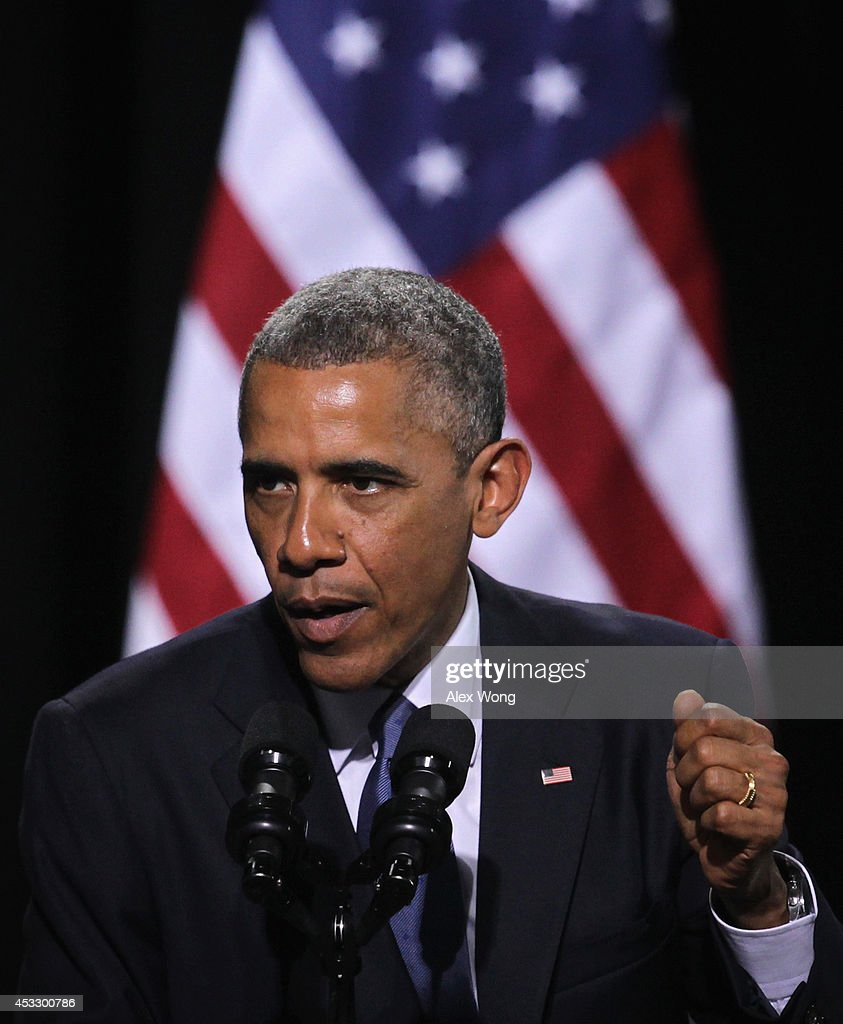 U.S. President <a gi-track='captionPersonalityLinkClicked' href=/galleries/search?phrase=Barack+Obama&family=editorial&specificpeople=203260 ng-click='$event.stopPropagation()'>Barack Obama</a> speaks during a signing ceremony of H.R. 3230 August 7, 2014 at Wallace Theater in Fort Belvoir, Virginia. President Obama has signed the Veterans' Access to Care through Choice, Accountability, and Transparency Act of 2014 into law.