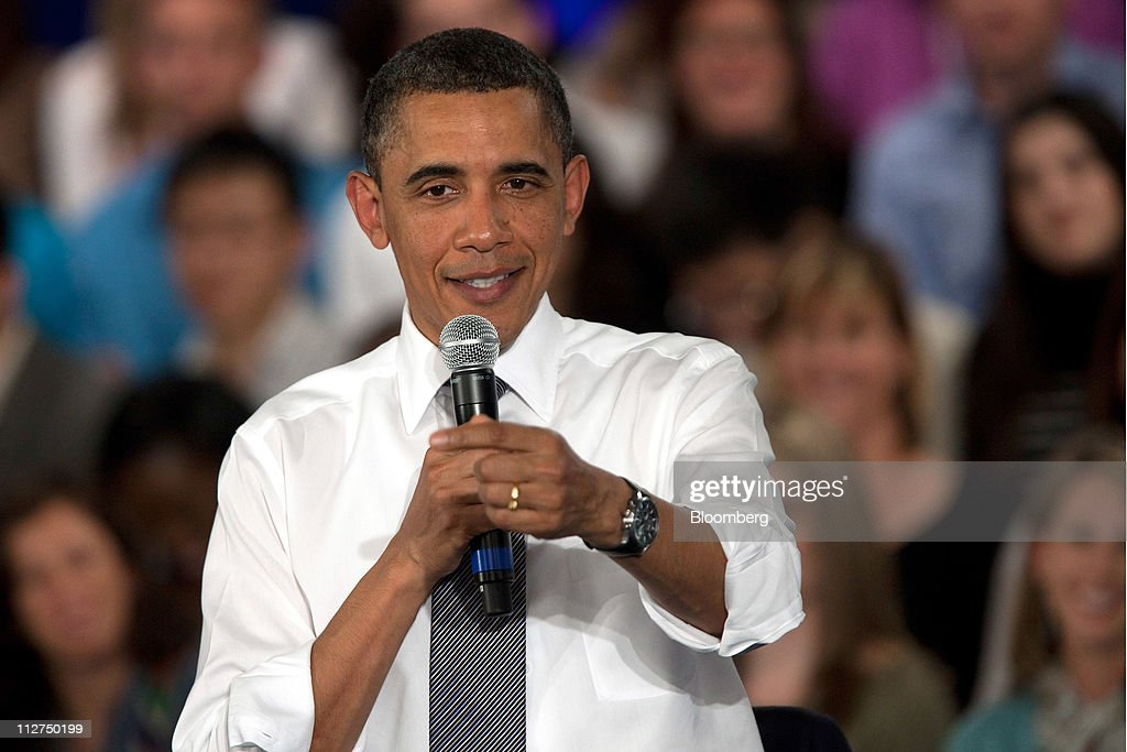 U.S. President <a gi-track='captionPersonalityLinkClicked' href=/galleries/search?phrase=Barack+Obama&family=editorial&specificpeople=203260 ng-click='$event.stopPropagation()'>Barack Obama</a> speaks during a town hall event at Facebook Inc. headquarters in Palo Alto, California, U.S., on Wednesday, April 20, 2011. Obama said members of both political parties in Washington need to work together to start reducing the nation's budget deficit in a 'balanced way.' Photographer: David Paul Morris/Bloomberg via Getty Images