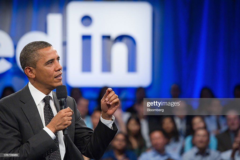 U.S. President <a gi-track='captionPersonalityLinkClicked' href=/galleries/search?phrase=Barack+Obama&family=editorial&specificpeople=203260 ng-click='$event.stopPropagation()'>Barack Obama</a> speaks during a town hall event sponsored by LinkedIn Corp. in Mountain View, California, U.S., on Monday, Sept. 26, 2011. Obama said his $447 billion jobs proposal will give the U.S. economy the 'jump start' it needs to revive job growth. Photographer: David Paul Morris/Bloomberg via Getty Images