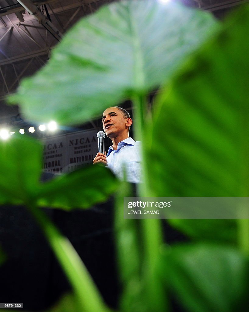 US President <a gi-track='captionPersonalityLinkClicked' href=/galleries/search?phrase=Barack+Obama&family=editorial&specificpeople=203260 ng-click='$event.stopPropagation()'>Barack Obama</a> speaks during a town hall meeting at Indian Hills Community College in Ottumwa, Iowa, on April 27, 2010. AFP PHOTO/Jewel Samad