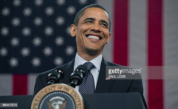 US President Barack Obama speaks during a town hall meeting on healthcare reform at Broughton High School in Raleigh North Carolina July 29 2009 AFP...