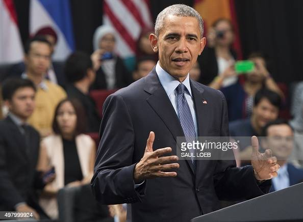 US President Barack Obama speaks during a town hall with Young Southeast Asia Leaders Initiative at Taylor's University in Kuala Lumpur on November...