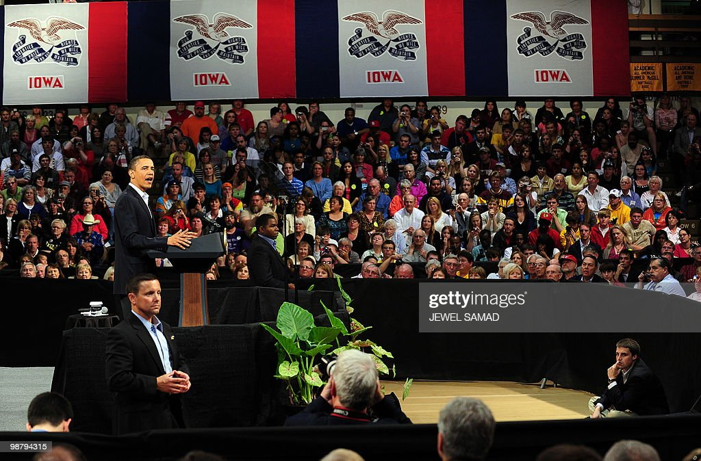 US President <a gi-track='captionPersonalityLinkClicked' href=/galleries/search?phrase=Barack+Obama&family=editorial&specificpeople=203260 ng-click='$event.stopPropagation()'>Barack Obama</a> speaks during a townhall meeting at Indian Hills Community College in Ottumwa, Iowa, on April 27, 2010. AFP PHOTO/Jewel Samad