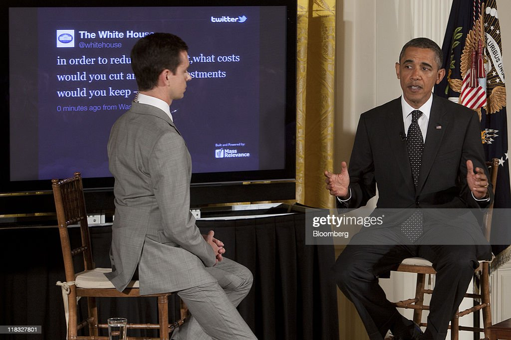 U.S. President <a gi-track='captionPersonalityLinkClicked' href=/galleries/search?phrase=Barack+Obama&family=editorial&specificpeople=203260 ng-click='$event.stopPropagation()'>Barack Obama</a> speaks during a Twitter Town Hall meeting in the East Room of the White House with <a gi-track='captionPersonalityLinkClicked' href=/galleries/search?phrase=Jack+Dorsey&family=editorial&specificpeople=5818892 ng-click='$event.stopPropagation()'>Jack Dorsey</a>, co-founder and executive chairman of Twitter Inc., left, in Washington, D.C., U.S., on Wednesday, July 6, 2011. Obama, responding to questions submitted over Twitter Inc.'s service, said he wishes he had done more in the early part of his term to explain to Americans the depth of the recession. Photographer: Andrew Harrer/Bloomberg via Getty Images