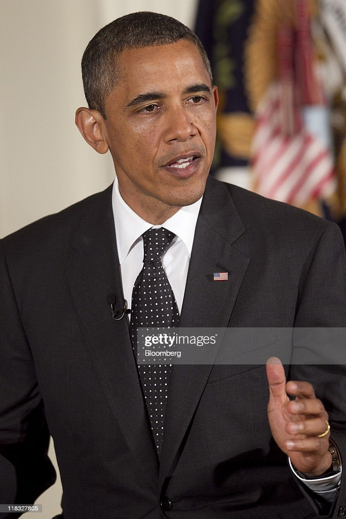 U.S. President <a gi-track='captionPersonalityLinkClicked' href=/galleries/search?phrase=Barack+Obama&family=editorial&specificpeople=203260 ng-click='$event.stopPropagation()'>Barack Obama</a> speaks during a Twitter Town Hall meeting in the East Room of the White House with Jack Dorsey, co-founder and executive chairman of Twitter Inc., in Washington, D.C., U.S., on Wednesday, July 6, 2011. Obama, responding to questions submitted over Twitter Inc.'s service, said he wishes he had done more in the early part of his term to explain to Americans the depth of the recession. Photographer: Andrew Harrer/Bloomberg via Getty Images