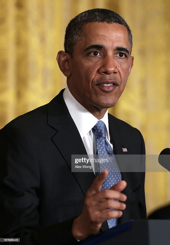 U.S. President <a gi-track='captionPersonalityLinkClicked' href=/galleries/search?phrase=Barack+Obama&family=editorial&specificpeople=203260 ng-click='$event.stopPropagation()'>Barack Obama</a> speaks during a veterans employment event in the East Room April 30, 2013 at the White House in Washington, DC. Michelle Obama and Jill Biden encousrged the private sector to step up the hiring of veterans.