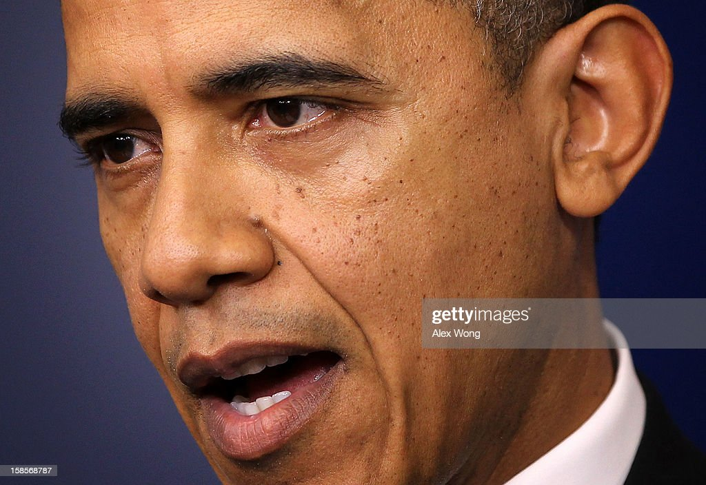 U.S. President <a gi-track='captionPersonalityLinkClicked' href=/galleries/search?phrase=Barack+Obama&family=editorial&specificpeople=203260 ng-click='$event.stopPropagation()'>Barack Obama</a> speaks during an announcement on gun reform in the Brady Press Briefing Room of the White House December 19, 2012 in Washington, DC. President Obama announced that he is making an administration-wide effort to solve gun violence and has tapped Vice President Joseph Biden to lead the effort in the wake of the Sandy Hook Elementary School shooting in Newtown, Connecticut.