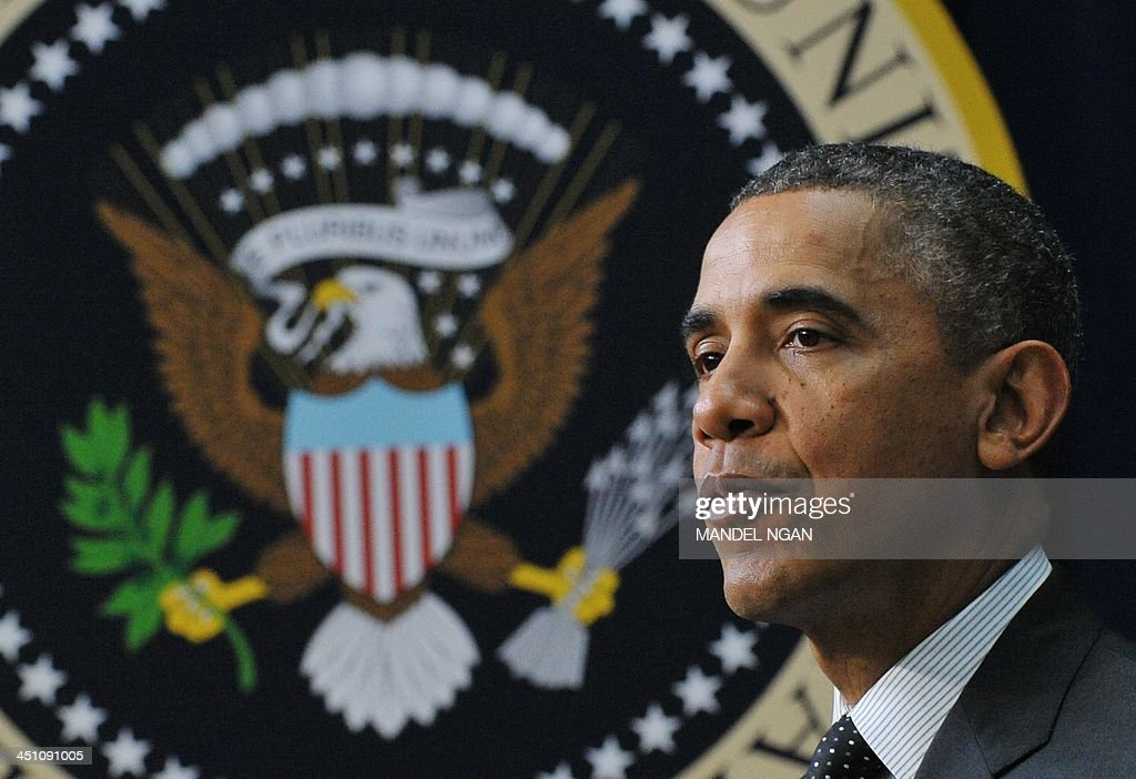 US President Barack Obama speaks during an ConnectED Initiative technology in education event in the South Court auditorium of the Eisenhower Executive Office Building, next to the White House, on November 21, 2013 in Washington, DC. AFP PHOTO/Mandel NGAN