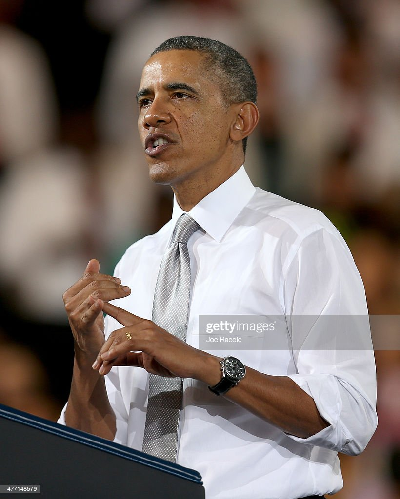 US President <a gi-track='captionPersonalityLinkClicked' href=/galleries/search?phrase=Barack+Obama&family=editorial&specificpeople=203260 ng-click='$event.stopPropagation()'>Barack Obama</a> speaks during an event at Coral Reef Senior High on March 7, 2014 in Miami, Florida. Obama announced a program that will allow students an easier way to complete the Free Application for Federal Student Aid.