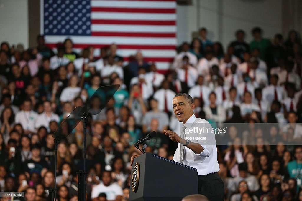 U.S. President <a gi-track='captionPersonalityLinkClicked' href=/galleries/search?phrase=Barack+Obama&family=editorial&specificpeople=203260 ng-click='$event.stopPropagation()'>Barack Obama</a> speaks during an event at Coral Reef Senior High on March 7, 2014 in Miami, Florida. Obama announced a program that will allow students an easier way to complete the Free Application for Federal Student Aid.