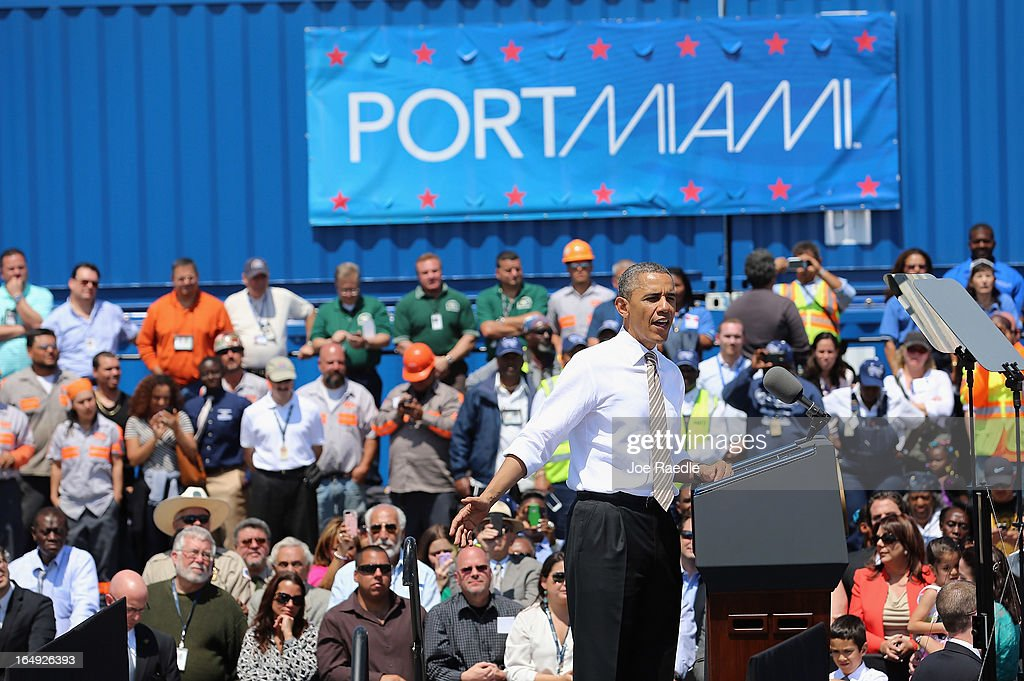 President <a gi-track='captionPersonalityLinkClicked' href=/galleries/search?phrase=Barack+Obama&family=editorial&specificpeople=203260 ng-click='$event.stopPropagation()'>Barack Obama</a> speaks during an event at PortMiami on March 29, 2013 in Miami, Florida. The president spoke about road and bridge construction during the event at the port in Miami, where he also toured a new tunnel project.