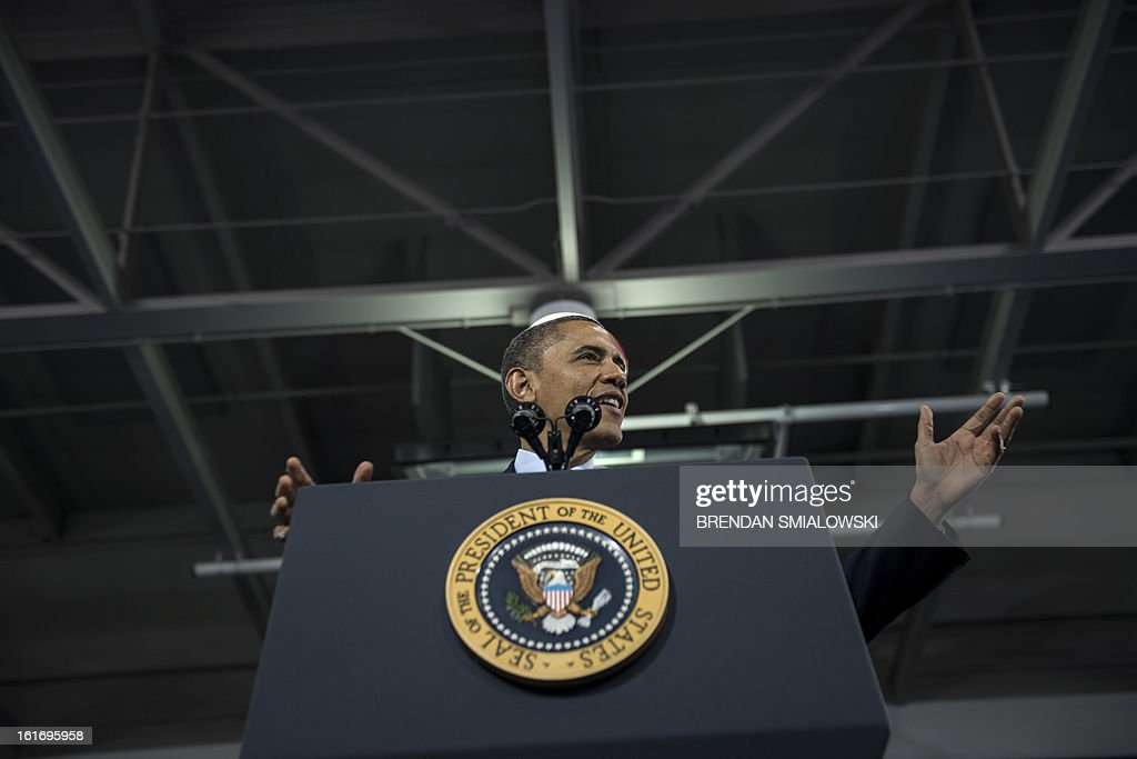 US President Barack Obama speaks during an event at the Decatur Community Recreation Center February 14, 2013 in Decatur, Georgia. Obama is traveling to Georgia to promote economic and educational initiatives he spoke about in this week's State of the Union. AFP PHOTO/Brendan SMIALOWSKI