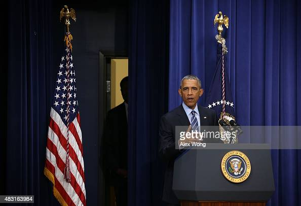 S President Barack Obama speaks during an event at the South Court Auditorium of the Eisenhower Executive Office Building August 6 2015 in Washington...