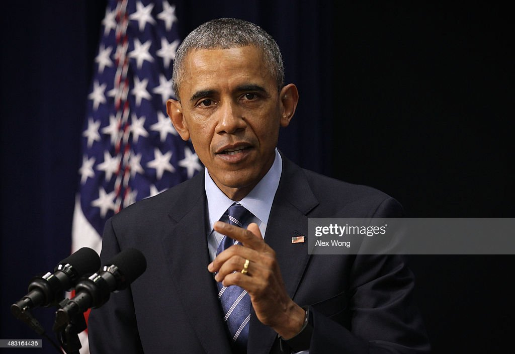 U.S. President <a gi-track='captionPersonalityLinkClicked' href=/galleries/search?phrase=Barack+Obama&family=editorial&specificpeople=203260 ng-click='$event.stopPropagation()'>Barack Obama</a> speaks during an event at the South Court Auditorium of the Eisenhower Executive Office Building August 6, 2015 in Washington, DC. President Obama spoke on the 50th Anniversary of the Voting Rights Act and proclaimed September 22 to be National Voter Registration Day.